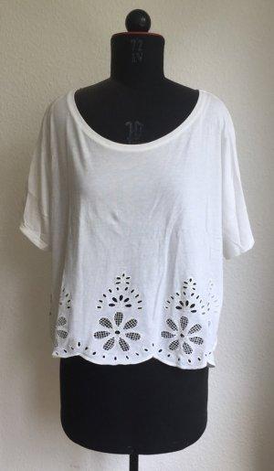 sommerliches cropped Shirt mit Lochmuster im Saum von H&M, weiß, Größe M