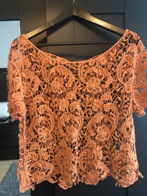 Haut en crochet orange coton