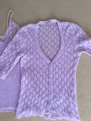 Knitted Twin Set mauve-oatmeal