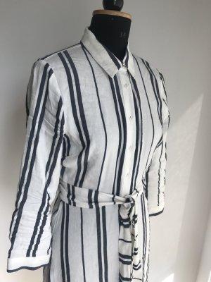 Zara Woman Robe chemise blanc-bleu foncé tissu mixte