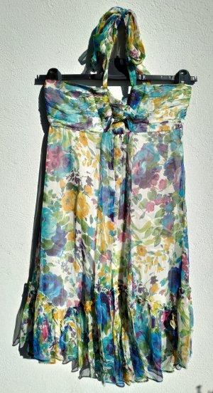 Zara Vestido de cuello Halter multicolor Seda