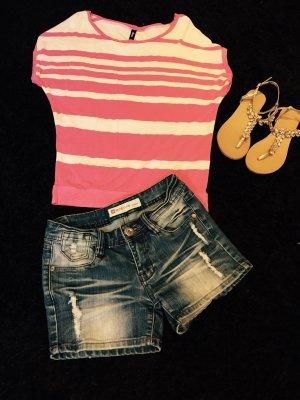 Sommerliches Shirt Gestreift Weiß / Rosa