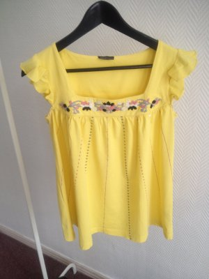Sommerliches T-Shirt/Top gelb Hippie/Ethno Stickereien