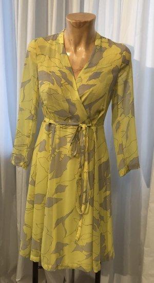 Zara Basic Vestido cruzado amarillo pálido-gris claro