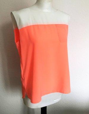 Sommerliches Top in Neon/Flamingo und Weiß