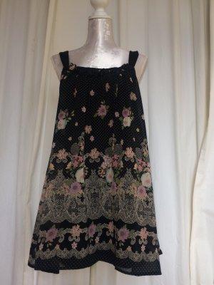 Sommerliches Trägerkleid mit Blumen und Punkten, Gr. 38