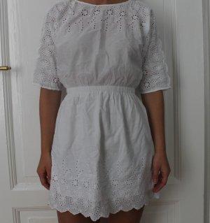 Sommerliches weißes Kleid mit Spitze Größe S
