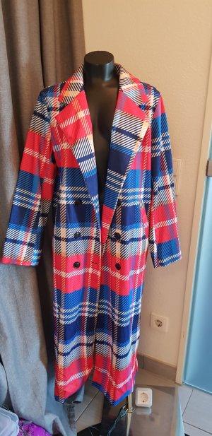 Abrigo largo rojo-azul neón