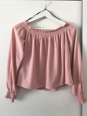 H&M Cropped Shirt light pink-pink