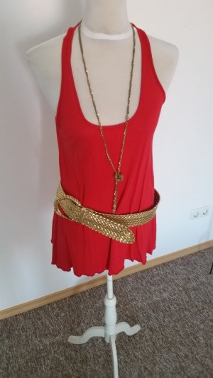 sommeroutfit rotes long shirt/dress