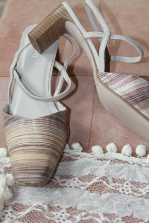 Zomerschoenen met hak veelkleurig Textielvezel