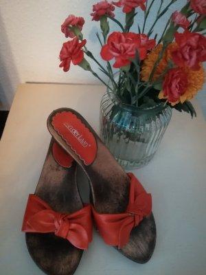 van der Laan Heel Pantolettes bright red