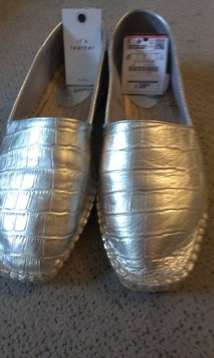 Zara Basic Slippers silver-colored