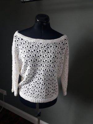 Pull en crochet blanc tissu mixte