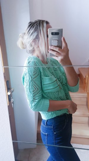 100% Fashion Crochet Sweater turquoise