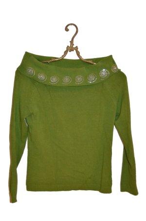 Sommerpulli Schurwolle grün Hippie Style Gr. S