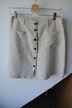 Falda de lino beige