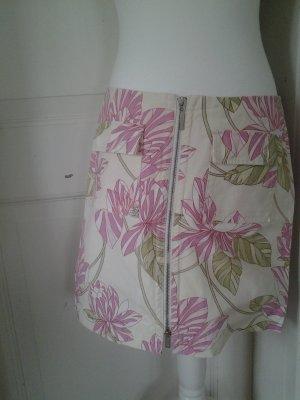 Sommerrock Minirock mit Blumendrck und Reißverschluss