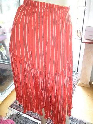 Falda circular rojo-blanco Viscosa