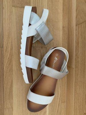 Sandales confort blanc-argenté