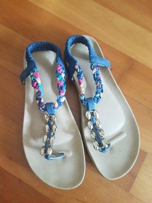 High-Heeled Toe-Post Sandals raspberry-red-cornflower blue
