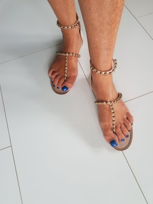 Zara High-Heeled Toe-Post Sandals oatmeal