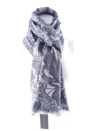 Zomersjaal antraciet-lichtgrijs verfraaid patroon elegant