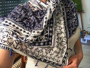 Écharpe d'été blanc-bleu foncé coton