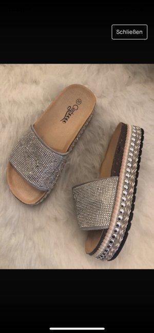 Platform Sandals silver-colored