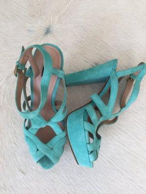 Zara Platform High-Heeled Sandal baby blue-turquoise suede