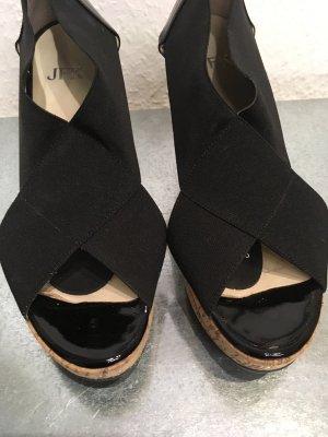 Plateauzool sandalen zwart-beige Lycra
