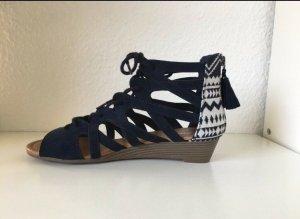 Sandalo con plateau bianco-blu scuro