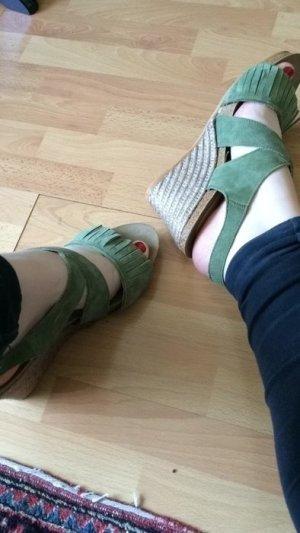 Espadrille Sandals lime-green-beige suede