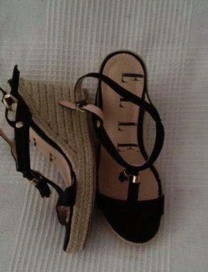 Plateauzool sandalen zwart-zandig bruin