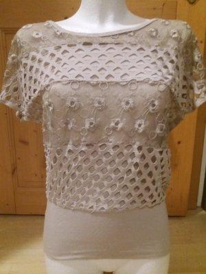 Top en maille crochet crème-beige clair