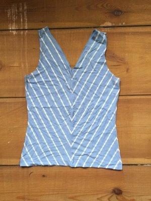 V-hals shirt lichtblauw-wit