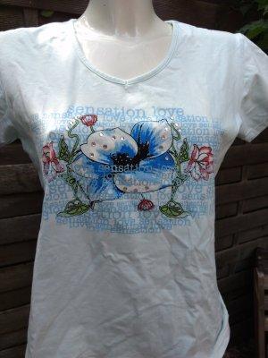Sommershirt hellblau mit Strassteinen