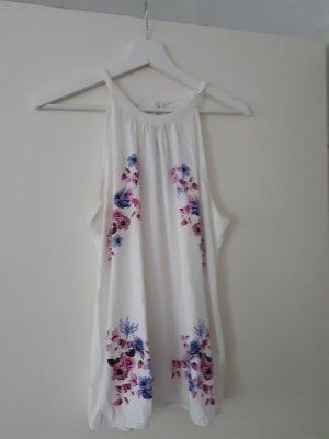 Sommershirt mit Blüten Blau/Rosa 40/42