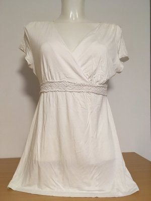 Tchibo / TCM Camisa con cuello V blanco Viscosa