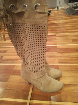 Combat Boots camel-sand brown suede