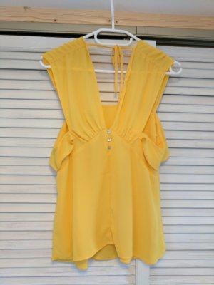 Sommertop Bluse mit Rüschen gelb orsay