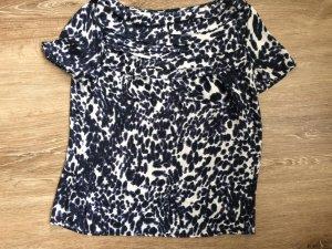 Sommertop  #Bluse weiß-blau #Raffung im Brustbereich