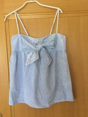 Sommertop mit Schleife Größe M blau weiß