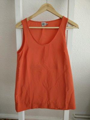 Sommertop von Asos in kräftigem Orange (Neopren-Optik), 90er