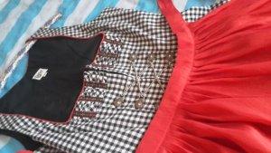 Sonderangebot Dirndl, schwarz-weiss kariert mit roter Schürze