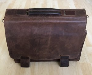 aunts & uncles Briefcase brown-dark brown leather
