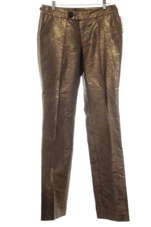 Sônia Bogner Pantalon à pinces marron clair-doré scintillant