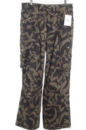Sônia Bogner Pantalon de ski gris brun-taupe motif floral