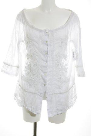 Sônia Bogner Transparenz-Bluse weiß-wollweiß florales Muster klassischer Stil