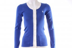 Sonia Rykiel Cardigan en crochet bleu-blanc viscose